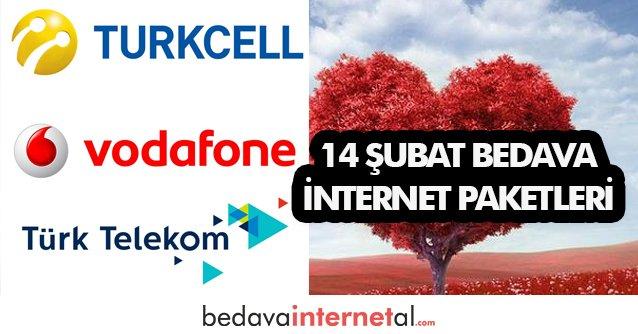 14 Şubat Bedava internet Paketleri