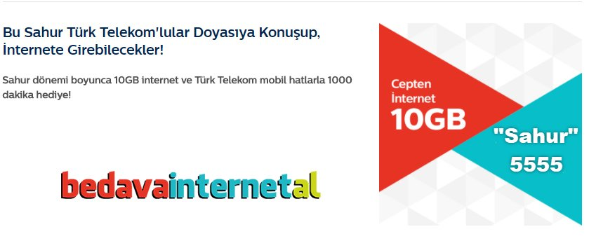 Türk Telekom Sahur 10GB İnternet