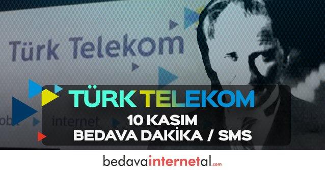 Türk Telekom 10 Kasım Bedava Dakika / Sms