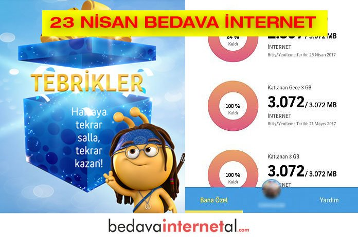 Turkcell 23 Nisan bedava internet